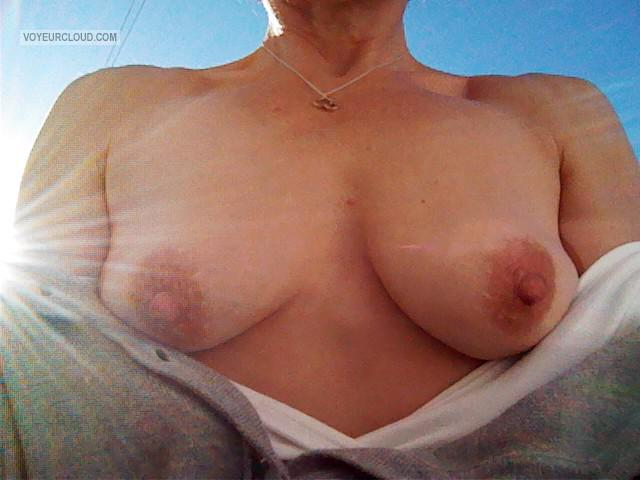 Tit Flash: Wife's Medium Tits - A Wife from United Kingdom